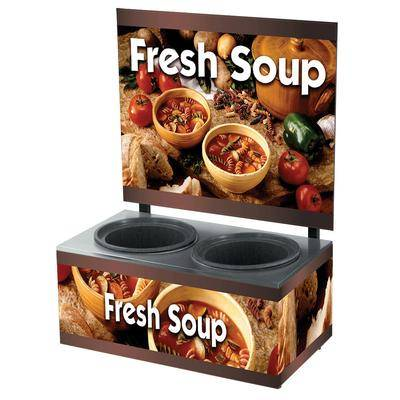 Vollrath 7203103 Twin 7 Qt. Well Soup Merchandiser Base with Menu Board and Country Kitchen Graphics - 120V, 700W