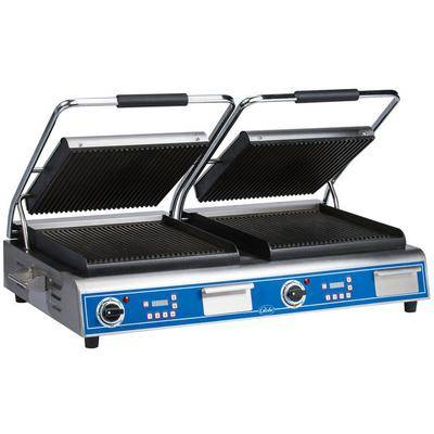 "Globe ""Globe GPGDUE14D Deluxe Double Sandwich Grill with Grooved Plates - Dual 14"""" x 14"""" Cooking Surfaces - 208/240V, 7200W"""