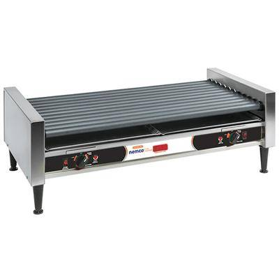 Nemco 8075SXW-SLT-RC Slanted Hot Dog Roller Grill with Digital Temperature Readout and GripsIt Non-Stick Coating - 75 Hot Dog Capacity (120V)