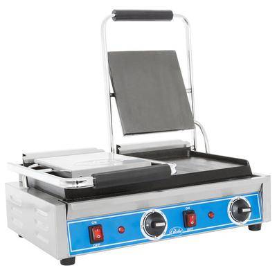 "Globe ""Globe GSGDUE10 Bistro Series Double Sandwich Grill with Smooth Plates - 20"""" x 10"""" Cooking Surface - 208/240V, 3200W"""