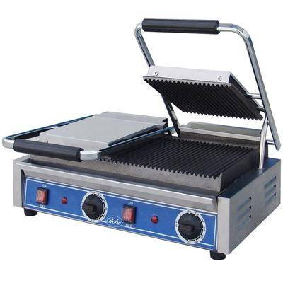 "Globe ""Globe GPGDUE10 Bistro Series Double Sandwich Grill with Grooved Plates - 20"""" x 10"""" Cooking Surface - 208/240V, 3200W"""