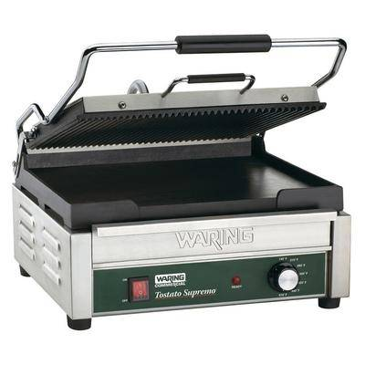 "Waring ""Waring WDG250 Grooved Top & Smooth Bottom Panini Sandwich Grill - 14 1/2"""" x 11"""" Cooking Surface - 120V, 1800W"""