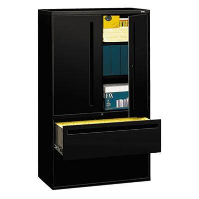 """Hon """"HON 795LSP 700 Series Black Storage Cabinet with Two Lateral Filing Drawers - 42"""""""" x 19 1/4"""""""" x 67"""""""""""""""