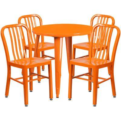 """Flash Furniture """"Flash Furniture CH-51090TH-4-18VRT-OR-GG 30"""""""" Round Orange Metal Indoor / Outdoor Table with 4 Vertical Slat Back Chairs"""""""
