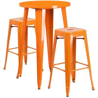 "Flash Furniture ""Flash Furniture CH-51080BH-2-30SQST-OR-GG 24"""" Round Orange Metal Indoor / Outdoor Bar Height Table with 2 Square Seat Backless Stools"""