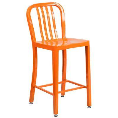 "Flash Furniture ""Flash Furniture CH-61200-24-OR-GG 24"""" Orange Metal Indoor / Outdoor Counter Height Stool with Vertical Slat Back"""