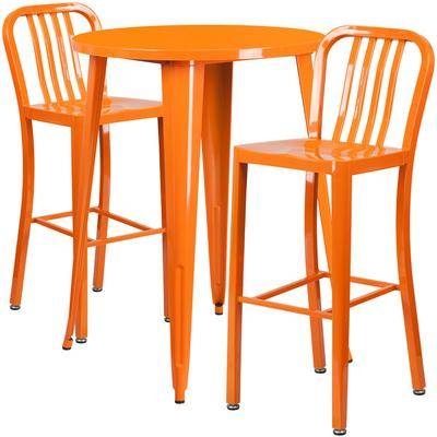 "Flash Furniture ""Flash Furniture CH-51090BH-2-30VRT-OR-GG 30"""" Round Orange Metal Indoor / Outdoor Bar Height Table with 2 Vertical Slat Back Stools"""