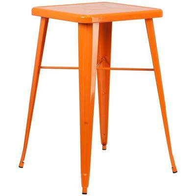 "Flash Furniture ""Flash Furniture CH-31330-OR-GG 23 3/4"""" Orange Metal Indoor / Outdoor Square Bar Height Table"""
