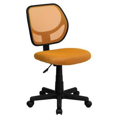 Flash Furniture WA-3074-OR-GG Mid-Back Orange Mesh Office / Task Chair with Nylon Frame and Swivel Base