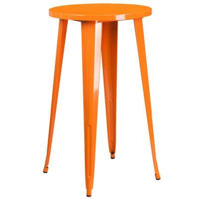 "Flash Furniture ""Flash Furniture CH-51080-40-OR-GG 24"""" Orange Metal Indoor / Outdoor Round Bar Height Table"""