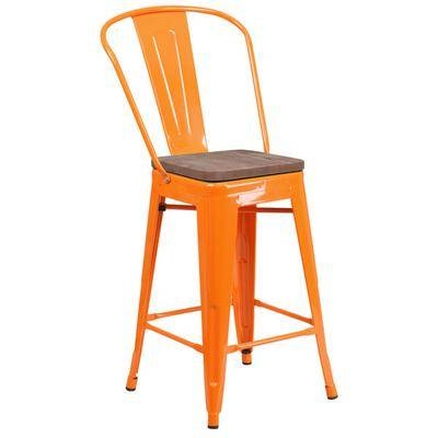 """Flash Furniture """"Flash Furniture CH-31320-24GB-OR-WD-GG 24"""""""" Orange Stackable Metal Counter Height Stool with Vertical Slat Back and Wood Seat"""""""