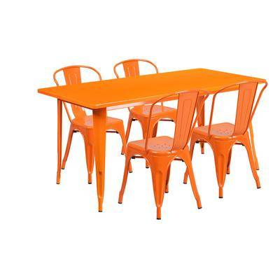 "Flash Furniture ""Flash Furniture ET-CT005-4-30-OR-GG 31 1/2"""" x 63"""" Rectangular Orange Metal Indoor / Outdoor Dining Height Table with 4 Cafe Style Chairs"""