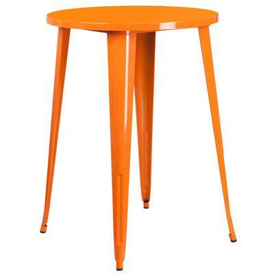 "Flash Furniture ""Flash Furniture CH-51090-40-OR-GG 30"""" Orange Metal Indoor / Outdoor Round Bar Height Table"""