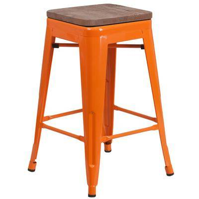 "Flash Furniture ""Flash Furniture CH-31320-24-OR-WD-GG 24"""" Orange Stackable Metal Backless Counter Height Stool with Square Wood Seat"""