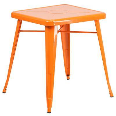 """Flash Furniture """"Flash Furniture CH-31330-29-OR-GG 24"""""""" Orange Metal Indoor / Outdoor Square Cafe Table"""""""