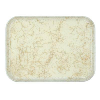 "Cambro ""Cambro 915526 8 3/4"""" x 15"""" Rectangular Galaxy Antique Parchment Gold Customizable Fiberglass Camtray - 12/Case"""