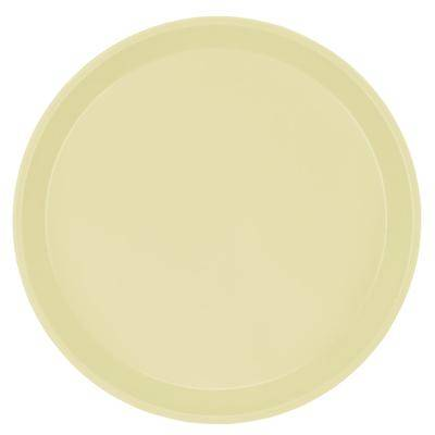 "Cambro ""Cambro 1950536 19 1/2"""" Low Profile Round Lemon Chiffon Customizable Fiberglass Camtray - 12/Case"""