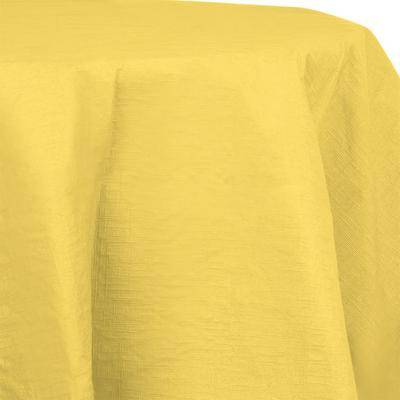 "Creative Labs Converting 923266 82"""" Mimosa Yellow OctyRound Tissue / Poly Table Cover - 12/Case"""