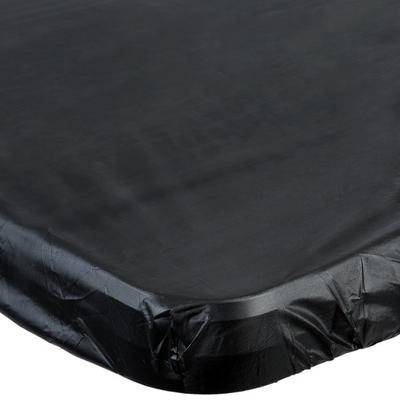 "Creative Labs Converting 701000 Stay Put Black 29"""" x 72"""" Rectangular Plastic Tablecloth with Elastic - 12/Case"""