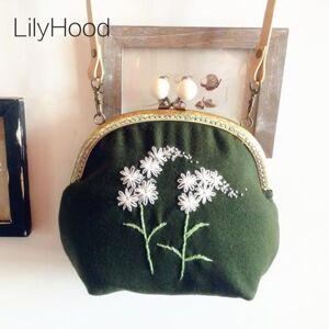 e6a840c95c4d LilyHood Handmade Wool Felt Embroidery Shoulder Bag Vintage Retro Shabby  Chic Victorian Folk Stylish Small Green