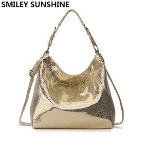 27774b3e8 SMILEY SUNSHINE Women's Leather Handbag Hobo Messenger Bag for Women 2018  Gold Crossbody Shoulder Bag Female
