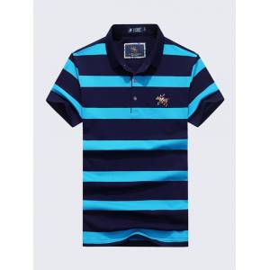 42ced376 Newchic Mens Summer Striped Printed Embroidery Logo Short Sleeve Casual  Cotton Golf Shirt
