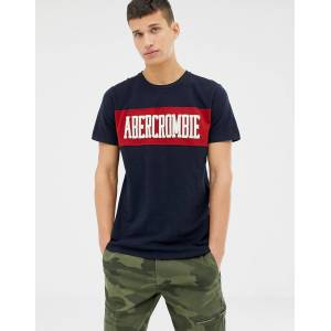 723f2162 Abercrombie & Fitch chest panel logo t-shirt in navy - Navy chest stripe
