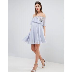 3e8eea20cd9397 Asos DESIGN Maternity embellished bandeau crop top skater mini dress - Pale  blue