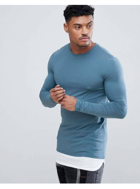 a3e03c86 Asos DESIGN longline long sleeve muscle fit t-shirt with contrast hem  extender in blue