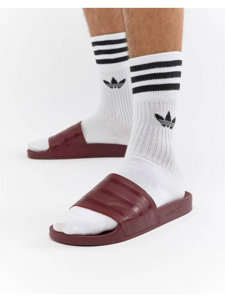 sneakers for cheap 6b46b 8cf62 Adidas Originals Adilette Sliders In Red CQ3095 - Red