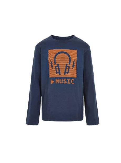 89fb7391 Se TILBUD på Minymo genser til barn med øretelefoner, blå og orange ...