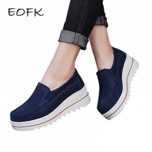 e9285af0f EOFK New Spring Autumn Moccasin Women s Flats Suede Genuine leather Shoes  Lady Loafers Slip On Platform