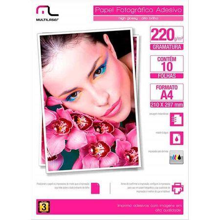 Multilaser Papel Fotografico Multilaser Adesivo 220GM2 10 Fls A4 - PE001 PE001