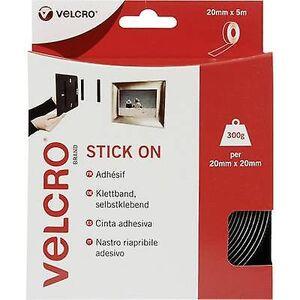 Velcro BORRELÅS® VEL-EC60217 Hook-and-loop tape Stick-on krok og loop pad (L x W) 5000 mm x 20 mm svart 5 m