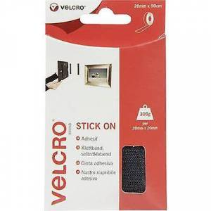Velcro BORRELÅS® VEL-EC60225 Hook-and-loop tape Stick-on krok og loop pad (L x W) 500 mm x 20 mm svart 0,5 m
