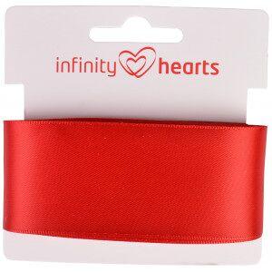 Infinity Hearts Satengbånd Dobbeltsidig 38mm 250 Rød - 5m
