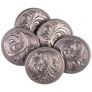Diverse Knapp Tinn Blader Antikk Sølv 22mm med Øye - 5 stk