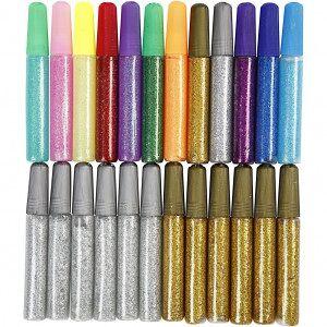 Diverse Glitterlim, 24x10 ml, ass. Farger, gull, sølv