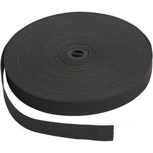 Diverse Elastikkbånd, B: 20 mm, 25 m, svart