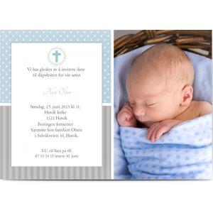 Optimalprint Boy Christening Invitations, fotokort (1 foto), gutt, blå, klassisk, A5, flatt, Optimalprint
