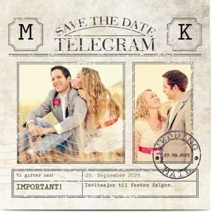 Optimalprint Save the Date, 2 bilder, telegram, klassisk, årgang, morsom, kvadratisk, flatt, Optimalprint