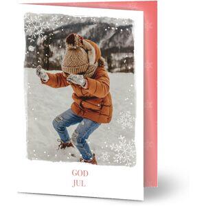 Optimalprint Julekort Winter alle rundt oss, fotokort (1 foto), prikker, rød, A6, brettet, Optimalprint