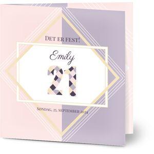 Optimalprint Bursdagsinvitasjoner, age 21, bursdag 18, stilig, geometrisk, pike, rosa, fiolett, kvadratisk, brettet, Optimalprint