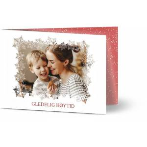 Optimalprint Julekort Elegant vekslet Snowflakes, fotokort (1 foto), snø, A6, brettet, Optimalprint