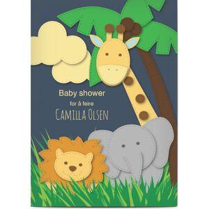 Optimalprint Babyshower invitasjoner, babyselskap, elefant, giraff, løve, sy, tre, blå, A6, flatt, Optimalprint