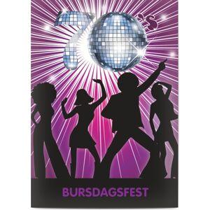 Optimalprint Bursdagsinvitasjoner barn, 60, 70 tallet, disco, gutt, fiolett, original, theme card, morsom, A6, flatt, Optimalprint