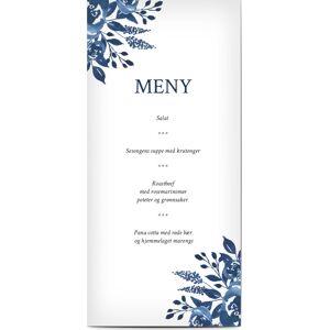 Optimalprint Menyer, bukett, blomster, rose, roser, vannfarge, blå, hvit, moderne, panorama DL, flatt, Optimalprint