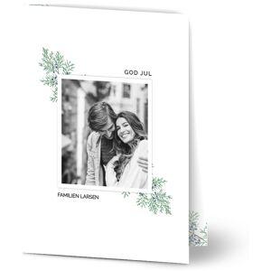 Optimalprint Julekort Winter Foliage Frame, fotokort (1 foto), gren, tre, hvit ramme, grønn, minimalistisk, A5, brettet, Optimalprint