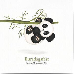 Optimalprint Invitasjon barn, dyr, bambus, bjørn, søt, henge, panda, grønn, hvit, kvadratisk, flatt, Optimalprint