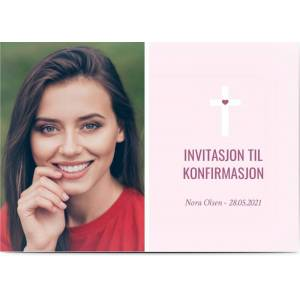 Optimalprint Invitasjoner Konfirmasjon, fotokort (1 foto), pike, rosa, klassisk, A6, flatt, Optimalprint